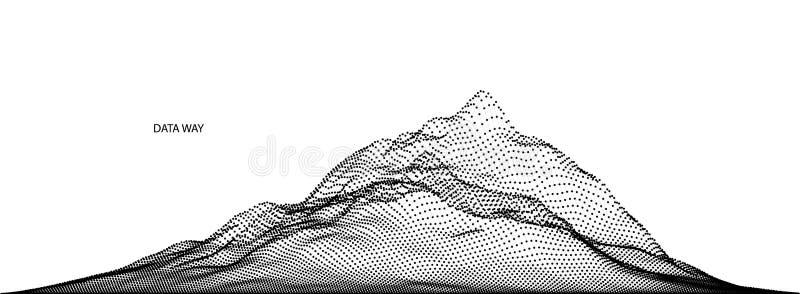 Vector abstracte die samenstelling van deeltjes wordt gemaakt en wireframe Conceptontwerp van digitaal landschap, gegevensserie,  stock illustratie