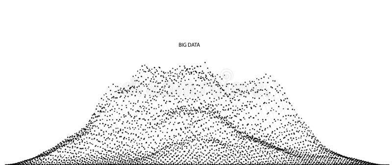 Vector abstracte die samenstelling van deeltjes wordt gemaakt en wireframe Conceptontwerp van digitaal landschap, gegevensserie,  royalty-vrije illustratie