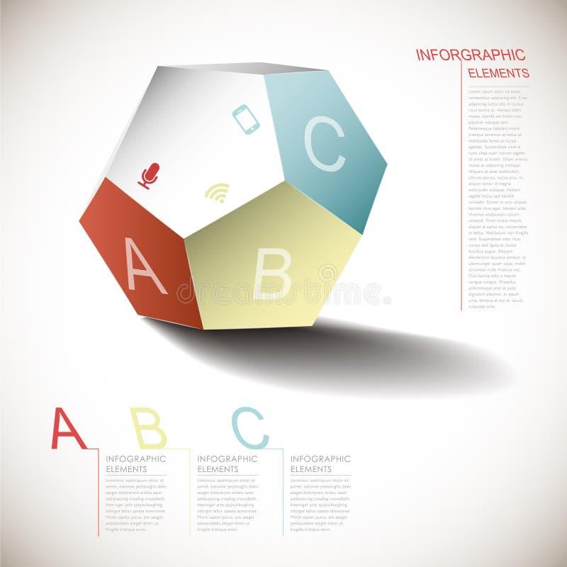 Vector abstracte dimensionale pentagooninfographics royalty-vrije illustratie