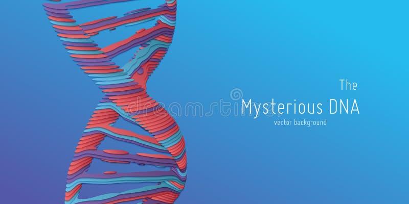 Vector abstracte dubbele de schroefillustratie van DNA als document besnoeiing Geheimzinnige bron van het levensachtergrond Genom royalty-vrije illustratie