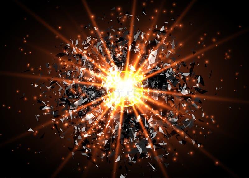 Vector abstracte explosieachtergrond Heldere ontploffing in dark Het gloeien helder licht Digitale grafisch voor brochure, websit royalty-vrije illustratie