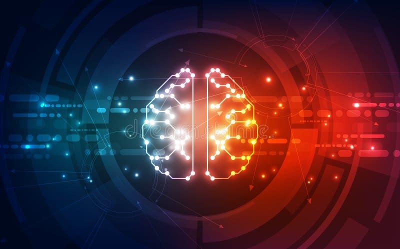 Vector Abstracte futuristische de kringsraad van kunstmatige intelligentiehersenen, achtergrond van de Illustratie de hoge digita vector illustratie