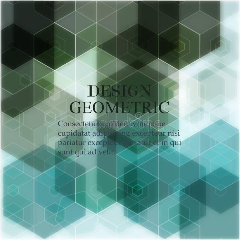 Vector Abstracte geometrische achtergrond Het ontwerp van de malplaatjebrochure Groene hexagon vorm royalty-vrije illustratie