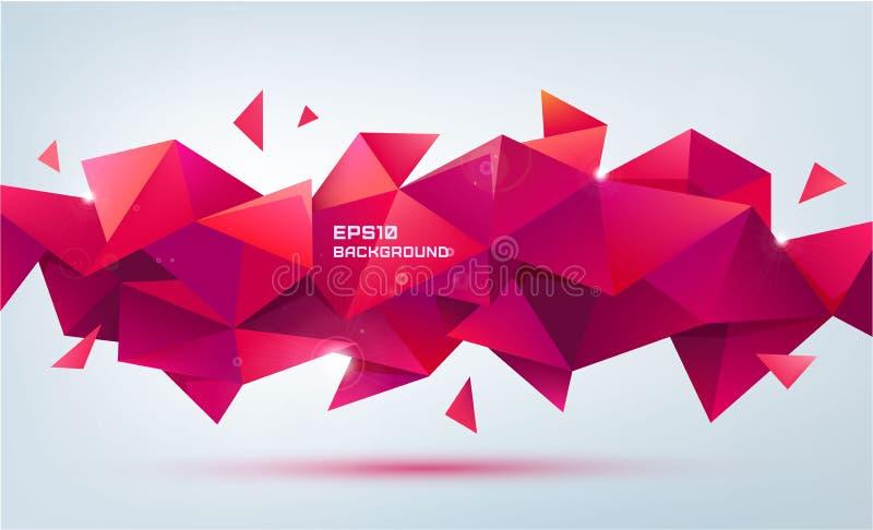 Vector abstracte geometrische 3d vorm Driehoekige facet veelhoekige banner, affiche royalty-vrije illustratie
