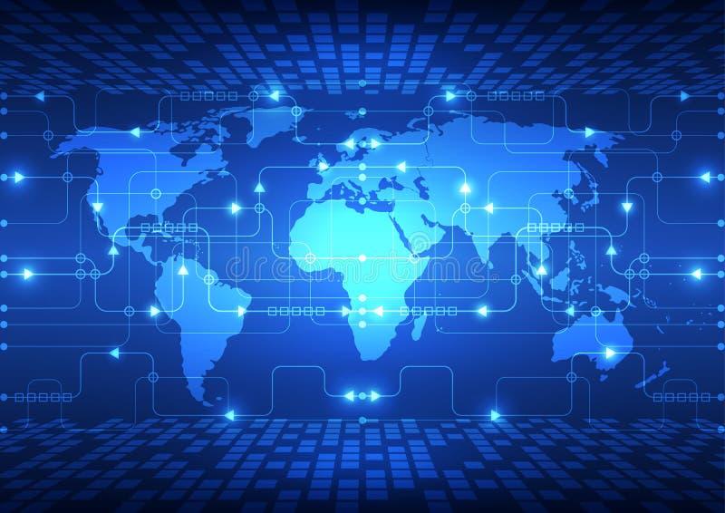 Vector abstracte globale toekomstige technologie, elektrische telecommunicatieachtergrond vector illustratie