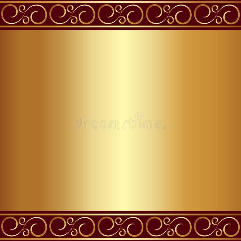 Vector abstracte gouden plaatachtergrond met vignetten vector illustratie