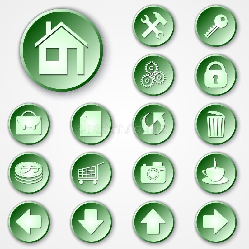 Vector abstracte groene ronde document pictogramreeks royalty-vrije illustratie