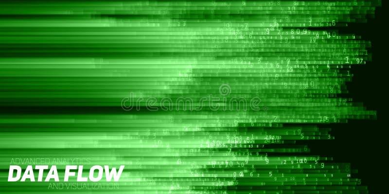 Vector abstracte grote gegevensvisualisatie Groene stroom van gegevens als aantallenkoorden De vertegenwoordiging van de informat royalty-vrije illustratie