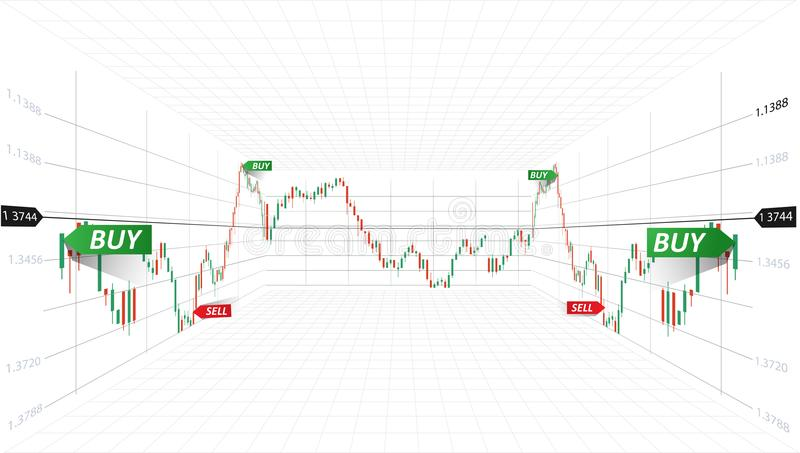 Vector abstracte illustratie Financiële marktgegevens Forex handelconcept Beurssymbool 3d vectorillustratie vector illustratie