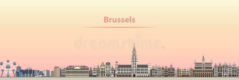Vector abstracte illustratie van de stadshorizon van Brussel bij zonsopgang royalty-vrije illustratie