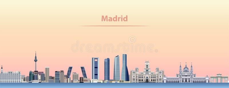 Vector abstracte illustratie van de stadshorizon van Madrid bij zonsopgang stock illustratie