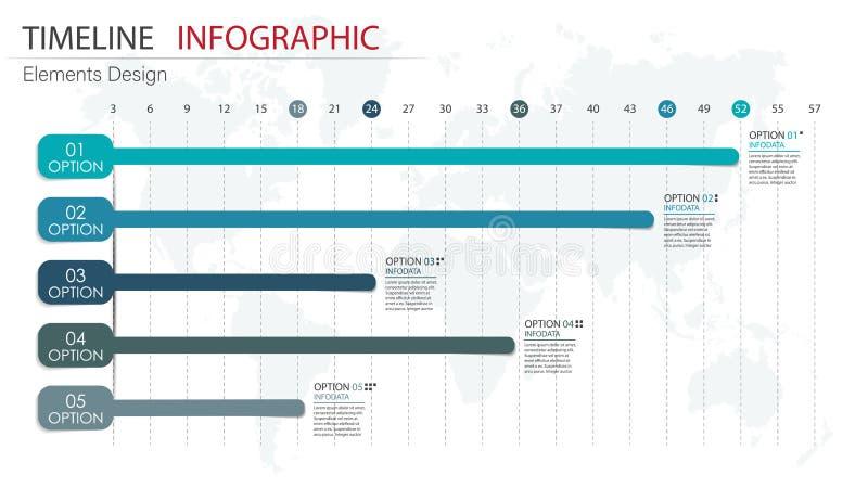 Vector abstracte infographics van de elementenchronologie Ontwerp voor busine vector illustratie