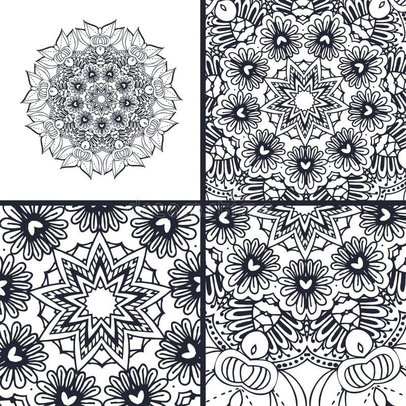 Vector abstracte kleurende pagina's met mandala Islam, Arabisch, Turks, ottomanemotieven royalty-vrije illustratie