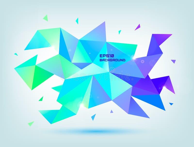 Vector abstracte kleurrijke blauwe, purpere, groene gefacetteerde kristalbanner, 3d vorm met geometrische driehoeken, stock illustratie