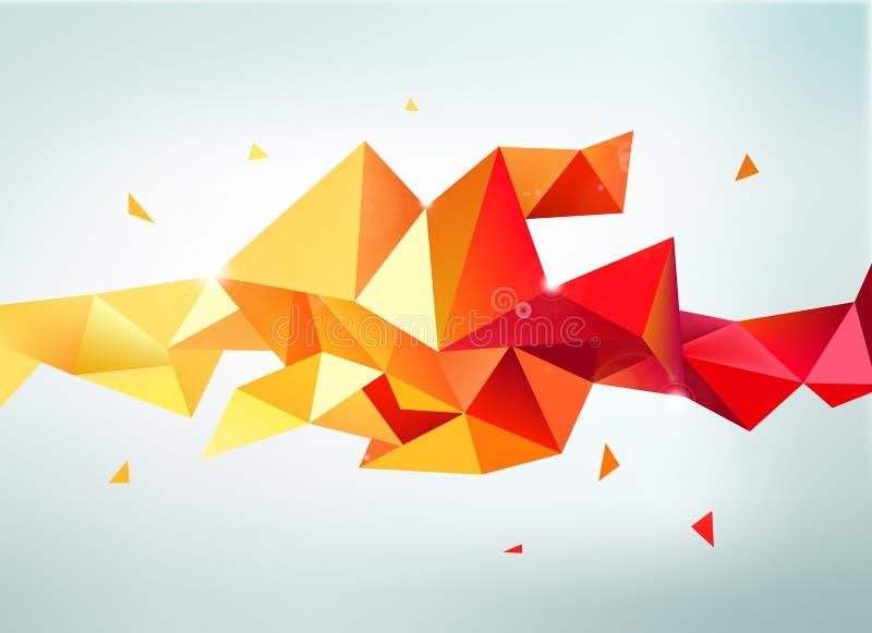 Vector abstracte kleurrijke oranje, rode, gele gefacetteerde kristalbanner stock illustratie