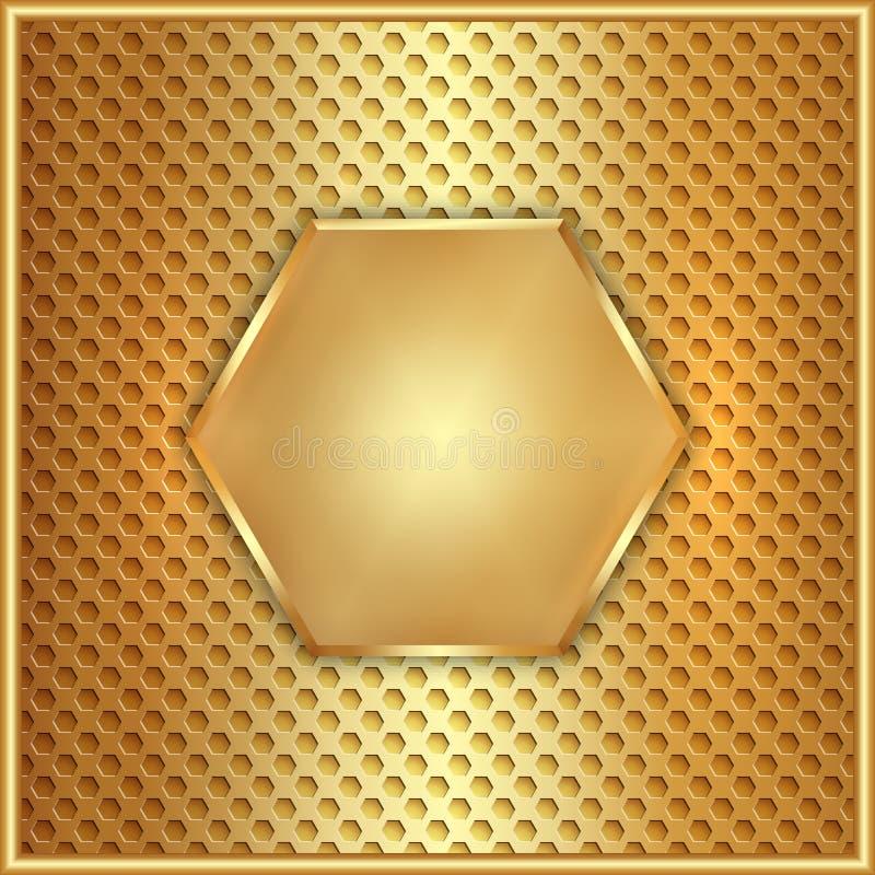 Vector abstracte metaal gouden zeshoek met cellen stock illustratie