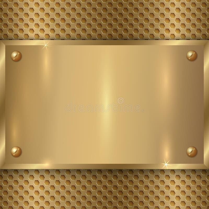 Vector abstracte metaal oude gouden plaque op de cel royalty-vrije illustratie