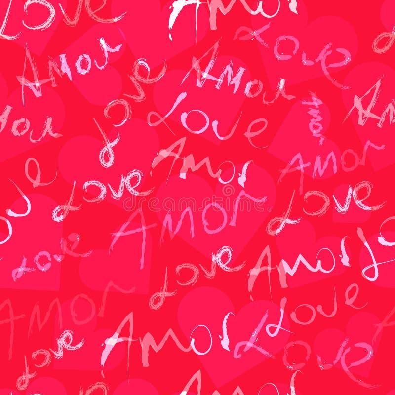 Vector Abstracte Naadloos van Word Liefde voor Valentijnskaartendag vector illustratie