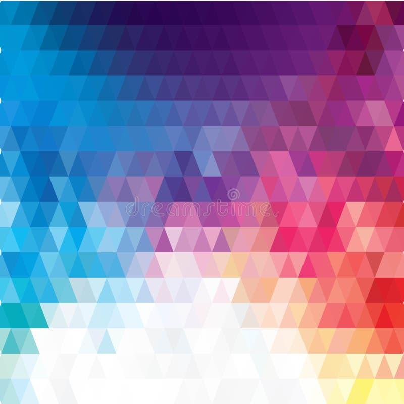 Vector abstracte onregelmatige veelhoekachtergrond met een driehoekig patroon in volledige het spectrumkleuren van de kleurenrege vector illustratie