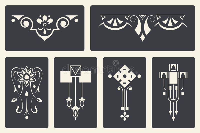 Vector abstracte ornamenten voor ontwerp van gedrukte en Webproducten royalty-vrije illustratie