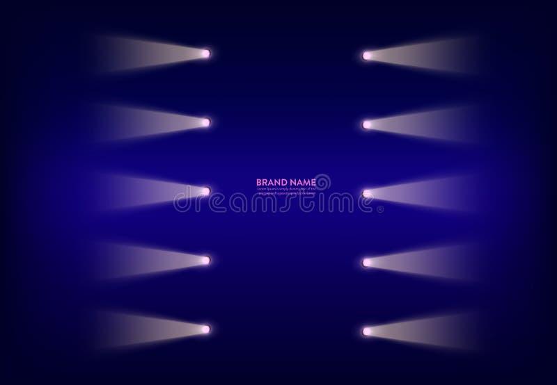 Vector abstracte purpere banner met neonschijnwerpers, flitslichten op de draad, lichtstralen, stralen van licht royalty-vrije stock afbeelding