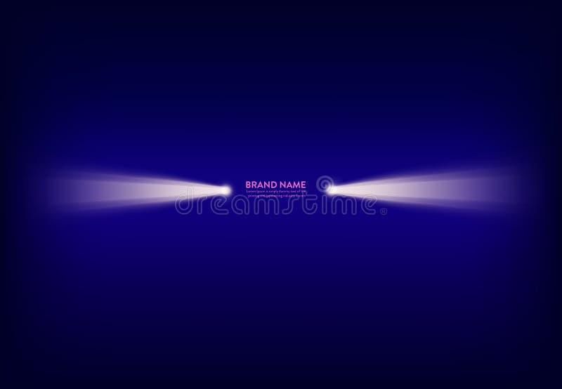 Vector abstracte purpere banner met schijnwerper, flitslicht, lichtstraal, straal van licht vector illustratie