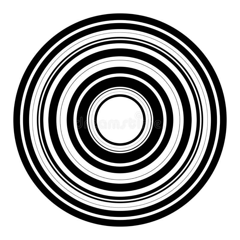 Vector abstracte radiale achtergrond van concentrische rimpelingscirkels stock illustratie