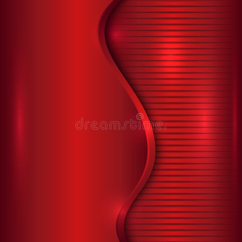 Vector abstracte rode achtergrond met kromme en strepen stock illustratie