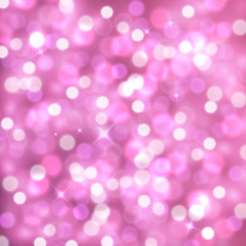 Vector abstracte roze fonkelende achtergrond met vage lichten vector illustratie