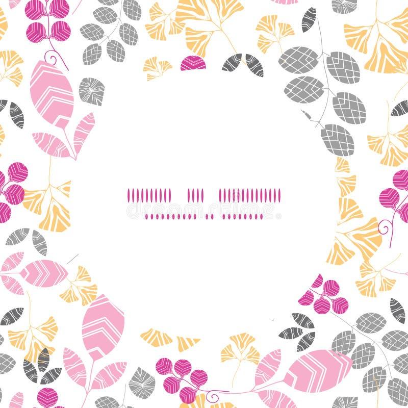 Vector abstracte roze, gele en grijze bladeren stock illustratie