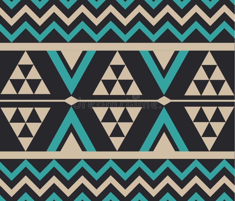 Vector Abstracte Stammen Etnische Patroonillustratie Als achtergrond stock afbeelding