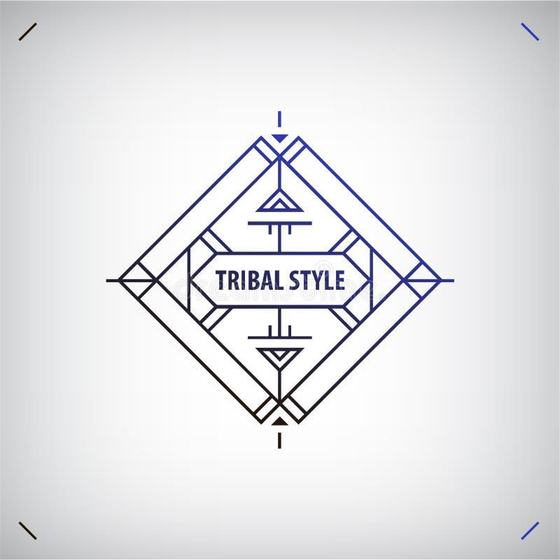 Vector abstracte stammenlijnvorm, embleem, geïsoleerd kader Boho, geometrische stijl royalty-vrije illustratie