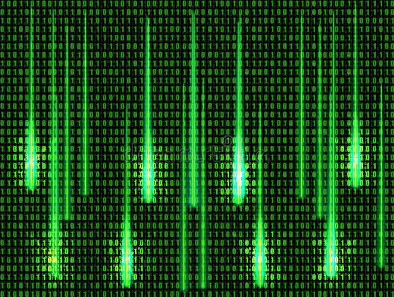 Vector Abstracte Technologieachtergrond, het Gloeien Lichten, Groene Matrijsgegevens vector illustratie