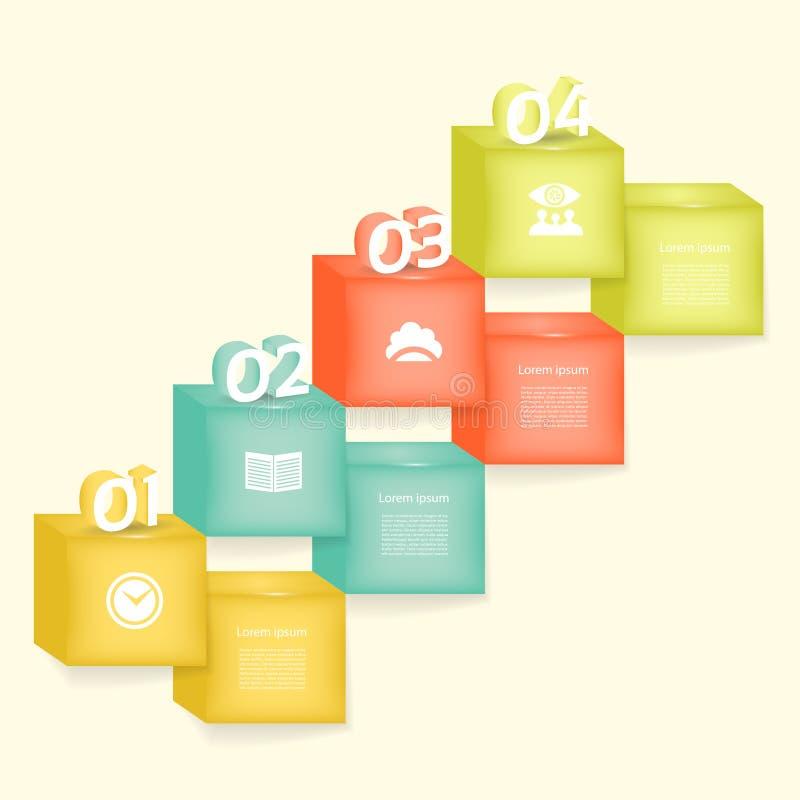 Vector abstracte vierkanten en kubussenillustratie als achtergrond/infographic malplaatje met plaats voor uw inhoud vector illustratie