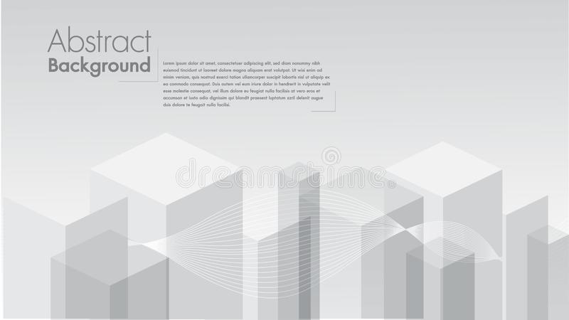 Vector Abstracte witte geometrische vorm als achtergrond van grijze kubussen De witte vierkantenruimte voor tekst geeft uit vector illustratie