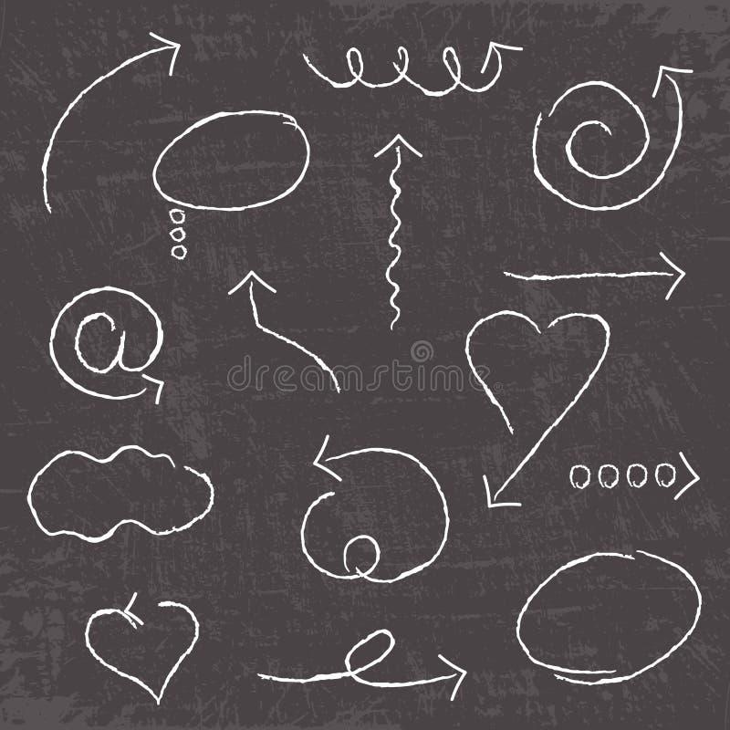 Vector abstracte witte hand getrokken die pijlen op schoolbordachtergrond worden geplaatst Krijteffect royalty-vrije illustratie