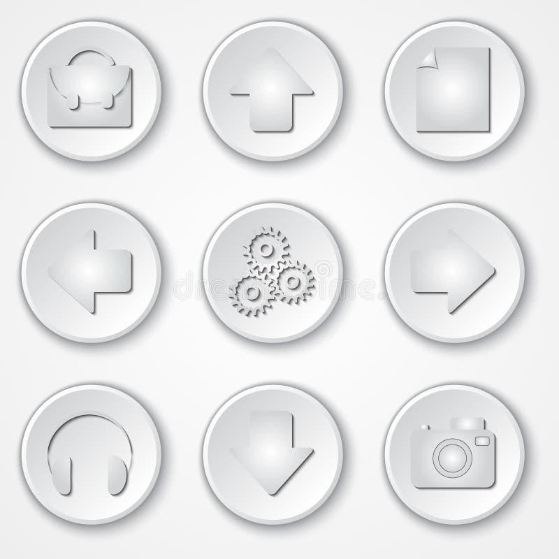 Vector abstracte witte ronde document pictogrammultimedia stock illustratie