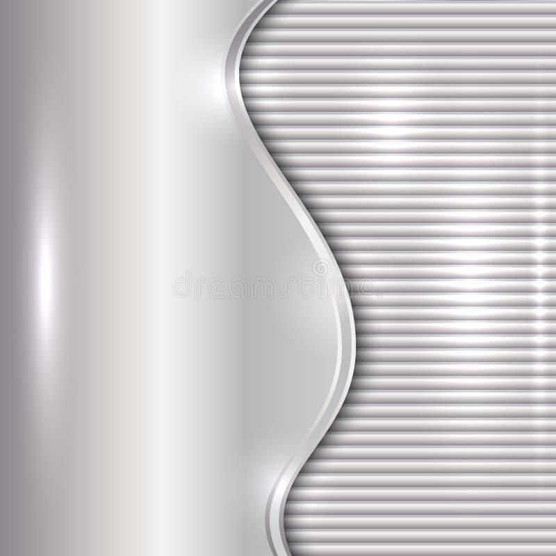 Vector abstracte zilveren achtergrond met kromme en strepen stock illustratie