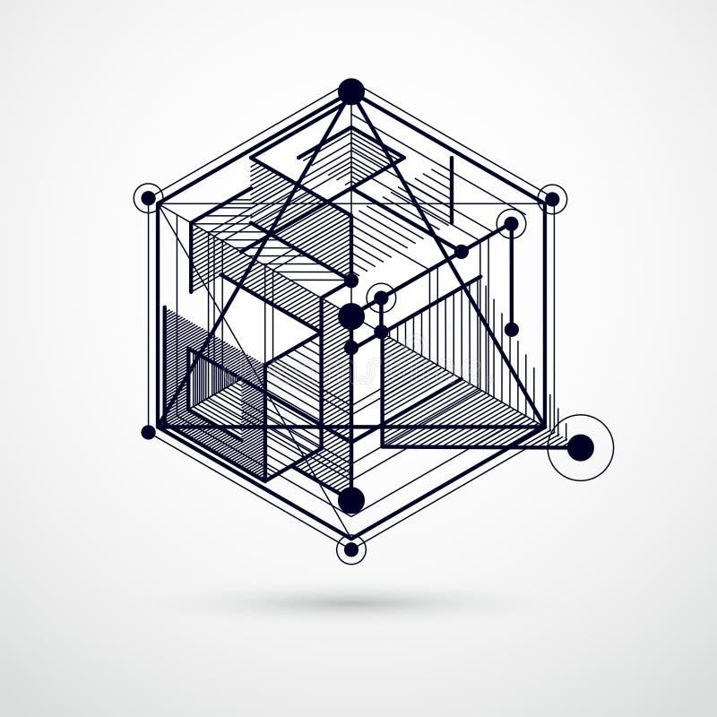 Vector abstracte zwart-witte die achtergrond in de isometrische stijl van netwerklijnen wordt gecreeerd Mechanische regeling, vec vector illustratie