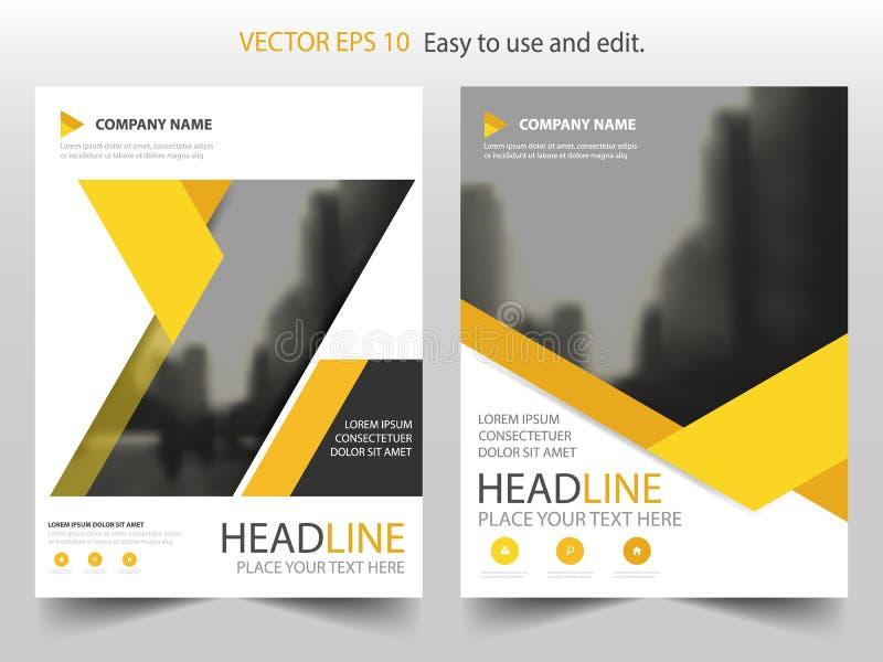 Vector abstracto amarillo de la plantilla del diseño del folleto del informe anual del triángulo Cartel infographic de la revista ilustración del vector