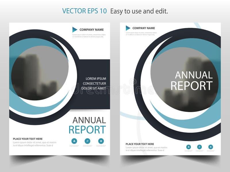 Vector abstracto azul de la plantilla del diseño del folleto del círculo Cartel infographic de la revista de los aviadores del ne ilustración del vector