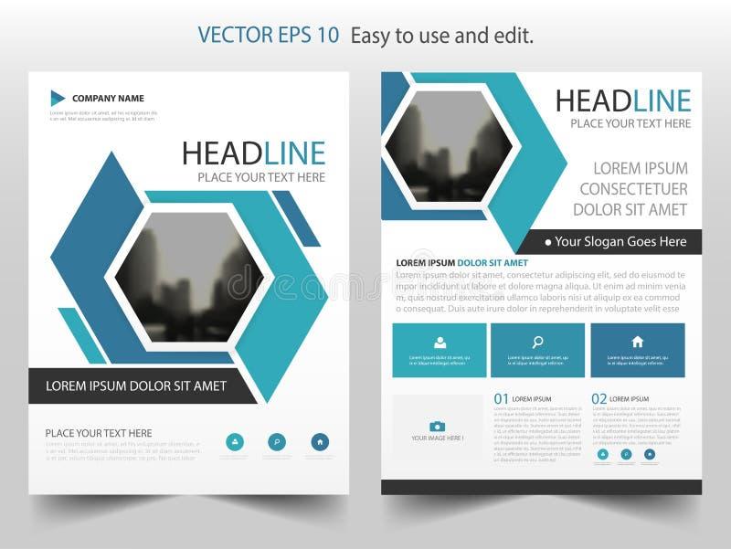 Vector abstracto azul de la plantilla del diseño del folleto del informe anual del hexágono Cartel infographic de la revista de l ilustración del vector