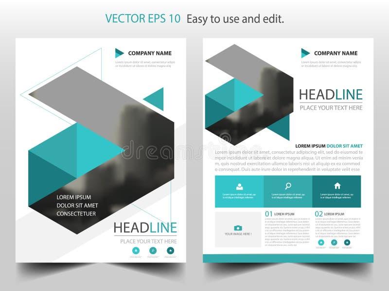 Vector abstracto azul de la plantilla del diseño del folleto del informe anual del triángulo Cartel infographic de la revista de  stock de ilustración