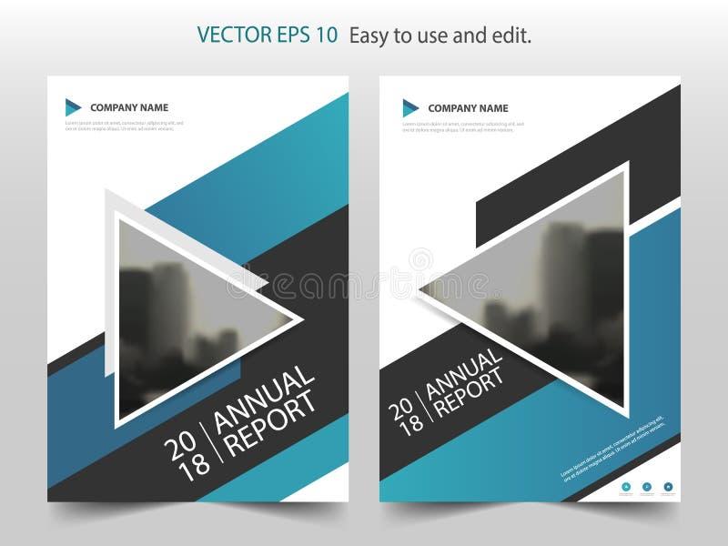 Vector abstracto azul de la plantilla del diseño del folleto del informe anual del triángulo Cartel infographic de la revista de  libre illustration