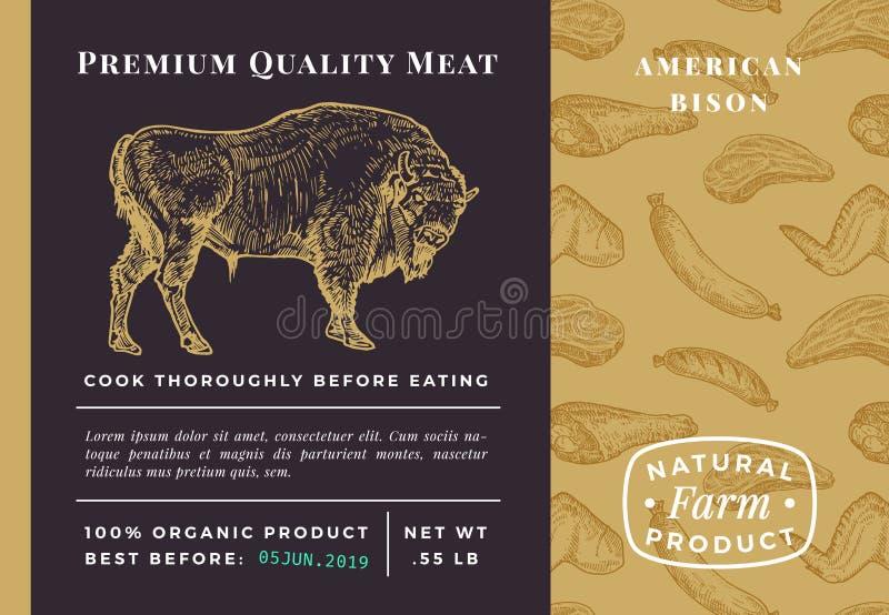 Vector abstracto Bison Packaging Design de la carne superior de la calidad o etiqueta Bosquejo exhausto moderno del búfalo de la  ilustración del vector