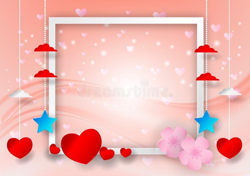 Vector abstracto con forma del corazón y marco para el espacio de la copia en el fondo, concepto del día del ` s de la tarjeta de stock de ilustración