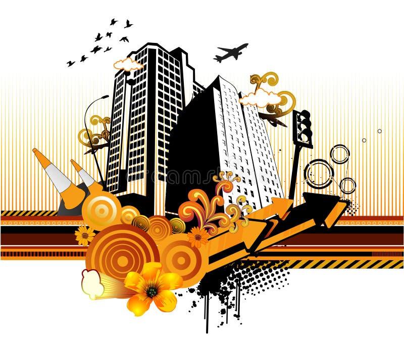 Vector abstracto de la ciudad stock de ilustración