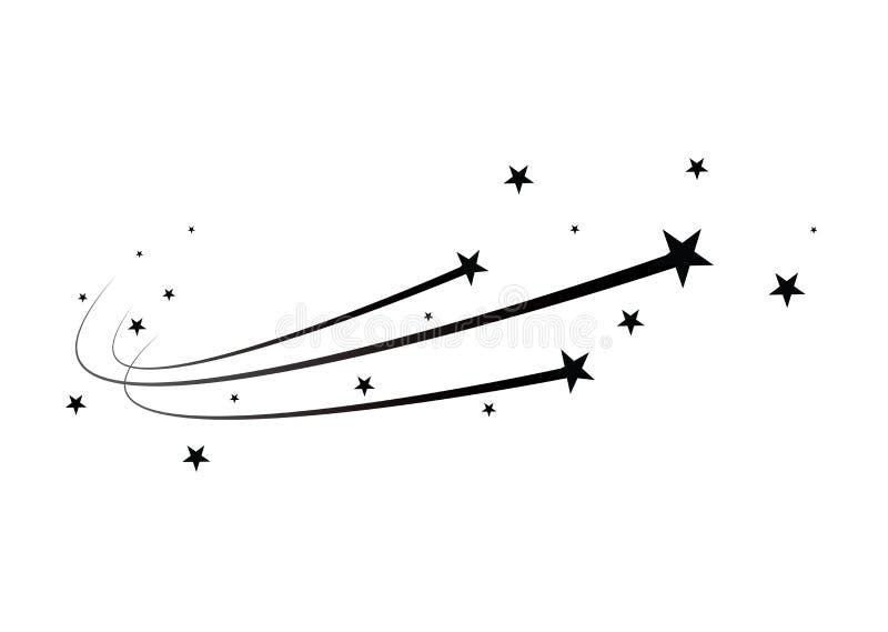 Vector abstracto de la estrella el caer - estrella fugaz negra con el rastro elegante de la estrella en el fondo blanco - meteoro stock de ilustración