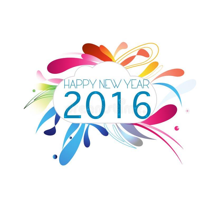 Vector abstracto de la tarjeta de felicitación del fondo del blanco del Año Nuevo 2016 stock de ilustración