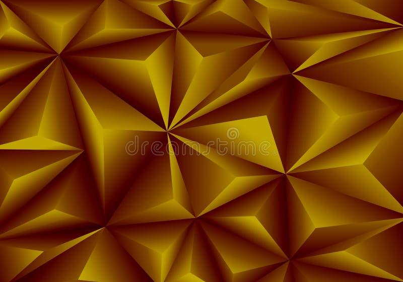 Vector abstracto de la textura del fondo del modelo del polígono del triángulo del oro stock de ilustración